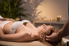 Pleasant head massage Stock Photos