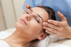 Pleasant head massage in spa Stock Photography