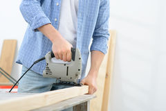 Pleasant man doing renovation Stock Image