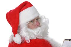 Pleasant man in Santa suit Royalty Free Stock Photography