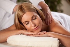 Pleasant massage in spa Stock Photos