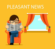 Pleasant news concept. Businessman reading Stock Photography