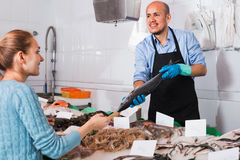 Pleasant seller helping female customer to choose  fish Royalty Free Stock Images