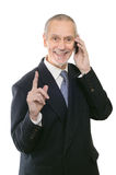 Pleasant and Smiling Businessman on Phone Stock Images