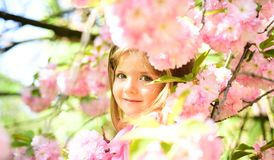 Pleasant spring day. Small child. Natural beauty. Childrens day. Summer girl fashion. Happy childhood. face and skincare. Allergy to flowers. Springtime stock photography