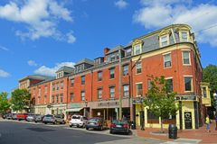 Pleasant Street, Portsmouth, New Hampshire, USA. Historic buildings on Pleasant Street at State Street in downtown Portsmouth, New Hampshire, USA Stock Photo