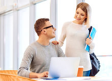 Pleasant students communicating Royalty Free Stock Images