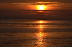 A pleasant sunset at Semiahmoo Bay stock photography