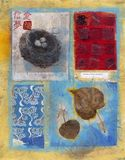 A Pleasant Surprise. A mixed medium collage with an Asian theme. Photograph of bird's nest on Japanese rice paper with gouache staining. Red square collage stock photo