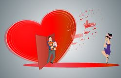 Pleasant surprise. Composition funny Valentine's Day Royalty Free Stock Images