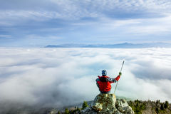 Pleasant view from the summit of the mountain Royalty Free Stock Image