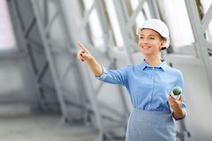 Pleasant woman architect at work Royalty Free Stock Photography