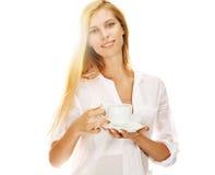 Pleasant woman having a coffee break Stock Photo