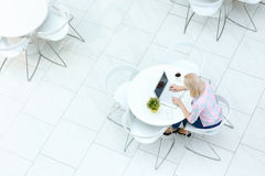 Pleasant woman sitting in the cafe Stock Photo
