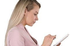 Pleasant woman using tablet on white background. stock photos