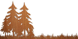 Pleasant wooden wood on withe Background. It's the illustration, on a wood background, of a pleasant wooden wood, with trees and grass Royalty Free Stock Images