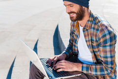 Pleasant working outdoors. Royalty Free Stock Images