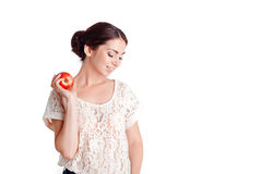 Pleasant young  girl apple Stock Photography