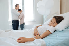 Pleasant young girl being ill Stock Images