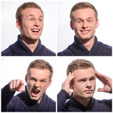 Pleasant young man expressing emotions Royalty Free Stock Photo