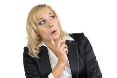 Pleasantly surprised business woman. On white background stock photo