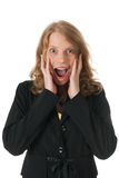 Pleasantly surprised woman Stock Images