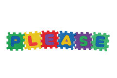 Please. Word Please, from letter puzzle, isolated on white background Royalty Free Stock Photos
