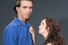 Please!. Portrait of angry loving couple Stock Photography