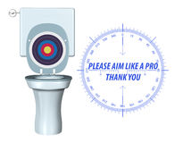 Please Aim Accurately Toilet Hygiene Sign Illustration Stock Image