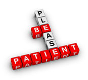 Please Be Patient. Crossword puzzle Stock Photography