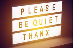 Please be quiet, Thanx message sign Royalty Free Stock Image