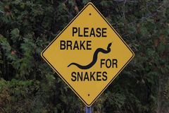 Please break for snakes signpost, important so snakes can cross roads safely during mating season stock image