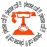Please call !. Red ancient phone and the words please call forming a circle Royalty Free Stock Photo