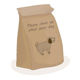 Please clean up after your dog. Paper package for a piece of shit. Vector pet. Royalty Free Stock Images