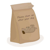 Please clean up after your dog. Paper package for turd. Vector poop bag. Stock Photos
