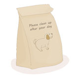 Please clean up after your pet. Paper poop package for turd. Vector dog. Stock Images