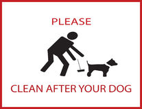 Please clean after your dog. Notice stock illustration