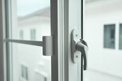 Please close the window, plastic window and handle Royalty Free Stock Photo