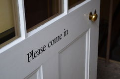 Please come in door sign. Royalty Free Stock Images