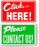 Please contact us click here store signs royalty free illustration