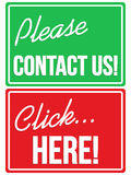 Please contact us and click here store signs Royalty Free Stock Images