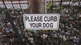 Please curb your dog, Harlem, New York, United States stock image