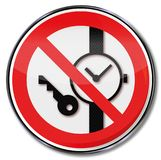 Please do not carry keys, or other metallic devices royalty free illustration