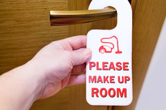 Please do not disturb on door. Please do not disturb sign on handle cleaning in number Royalty Free Stock Photo