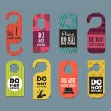 Please do not disturb hotel door quiet motel service room privacy concept vector card hang message . Stock Image