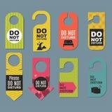 Please do not disturb hotel door quiet motel service room privacy concept vector card hang message . Royalty Free Stock Image