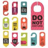 Please do not disturb hotel door quiet motel service room privacy concept vector card hang message . Stock Images