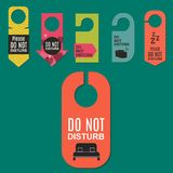 Please do not disturb hotel door quiet motel service room privacy concept vector card hang message . Stock Photography
