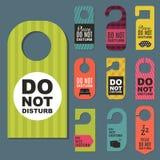 Please do not disturb hotel door quiet motel service room privacy concept vector card hang message . Stock Photography