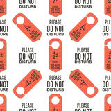 Please do not disturb hotel door quiet motel service room privacy seamless pattern vector card hang message . Royalty Free Stock Photography